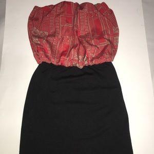 Red & Black Super Short Mini Strapless Dress